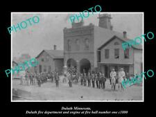 OLD 8x6 HISTORIC PHOTO DULUTH MINNESOTA THE No 1 FIRE STATION & CREW c1880