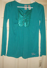 GUESS~girl's~SEQUIN/EMBROIDERED/LONG/SLEEVE/TEAL/TOP! (XL/16) N/W/TAGS! @@ NICE!