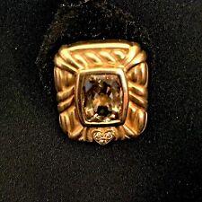 Judith Ripka 18k Yellow Gold Diamond Heart Citrine Earrings