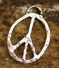 Oval Peace Charm, Ch-132 Sterling Silver Peace Pendant, Rustic