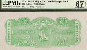 $500 CSA CHEMICOGRAPH BACK CONFEDERATE STATES CURRENCY PAPER MONEY PMG 67 EPQ