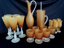18 Piece Italian Wine & Cocktail Glassware Set Frosted Stem Amber Glass Bowl