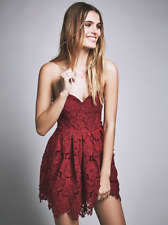 NWT Free People LOVERS + FRIENDS Smitten Strapless Red Lace Mini Dress XS $265