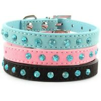 Adjustable Pet Dog PU Leather Collar Puppy Cat Crystal Buckle Neck Strap US