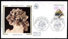 FRANCE FDC - 2429 1 MINERAUX MARCASSITE - 13 Septembre 1986 - LUXE sur soie
