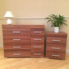 Walnut Effect 4+4 Drawer Chest & 3 Draw Bedside Cabinet Bedroom Furniture NEW