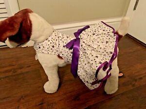 New Handmade Dog Puppy Harness Dress Easter Sunday Purple Satin Trim Flower S XS