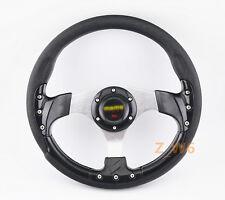 320MM JDM Battle Racing Style Black PVC Racing Steering Wheel 6 Bolt W/ Horn 005