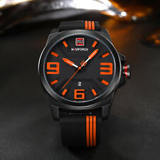Black Men's Sports Quartz Analog Rubber Band Date Display Waterproof Wrist Watch