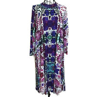 Free People New Romantics Floral Dress Keyhole Back 3/4 Sleeve Purple Size M