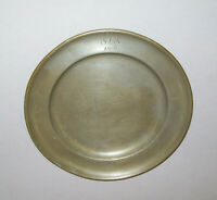 """Antique 19th C 1800s Pewter Plate 9.25"""" Dia Dated 1806 Marked German Very Nice"""