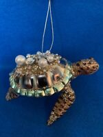 Sea Turtle Jeweled Glass Christmas Ornament Robert Stanley Sparkly Barnacles NWT