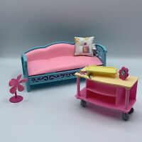 Barbie Doll Vintage House Accessories Furniture Lot Couch Table Pillow Fan Decor