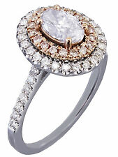GIA I-SI1 14k White Rose Gold Oval Cut Diamond Pink Engagement Ring Halo 1.30ctw