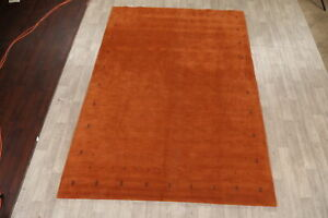 Contemporary ORANGE Gabbeh Tribal Hand-Knotted Area Rug Oriental Carpet 8x11