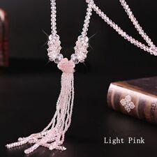 Moda mujer joyas borla larga suéter cadena vidrio cristal rebordea el collar