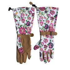 Womanswork 715 Womens Garden Gloves Floral Long Sleeve Arm Protection Gauntlet
