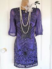 BNWT RISE beaded 1920's flapper style dress size UK 8 US 4 EU 36 Great Gatsby