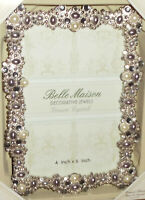 """Belle Maison Decorative Jewels Picture Frame ~ Genuine Crystals 4"""" X 6"""" - Gray"""