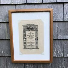 Antique Original Bookplate Engraving Etching Bibliophile Society Boston Framed