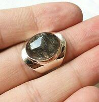 Sterling Silver Ring Black Rutile Gemstone Boho Statement Engagement  Ring