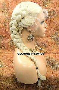HUMAN HAIR BLEND LACE FRONT FULL WIG MIDDLE PART LONG BRAIDED PLATINUM BLONDE