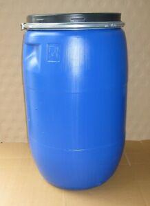 120 L Deckelfass Regentonne Fass Tonne Kunststofffass blau gebraucht.