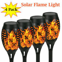 4Pack 12LED Waterproof Solar Tiki Torch Light Dancing Flickering Flame Lamps USA