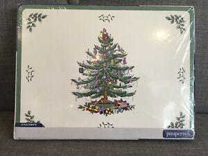 Unopened set of 4 Pimpernel Christmas Tree melamine & cork Placemats Spode