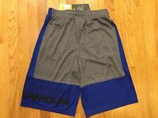 NWT Under Armour Heatgear Boys Graphite & Blue Stunt Athletic Shorts Size S