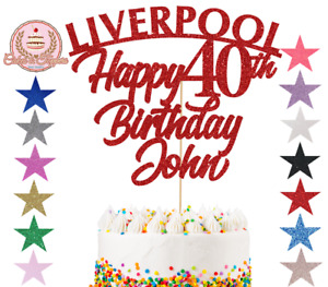 Liverpool Cake Topper Personalise Happy Birthday Any Name Age, Glitter Topper