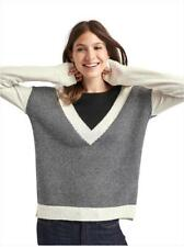 Gap Merino wool mixed color V-neck striped sweater, Black & White Sz XL (5119)