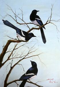 Original Oil Painting On Canvas - Animals - Magpies