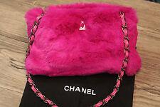 CHANEL chain link bag - pink rabbit fur