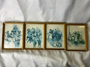 Vintage Set of 4 Pictures by Ronald Embleton Framed