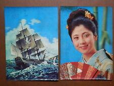 Lotto di 2 cartolina TRIDIMENSIONALE geisha veliero Winky Girl Sailing vessel