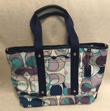 Coach Hampton Blue Nylon Tote Shoulder Bag Blue Canvas Blue Leather Trim Medium