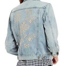 Tru Luxe Jeans Denim Jacket Embroidered Back Light Indigo Size M