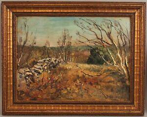 c1900 Antique FRANKLIN DE HAVEN American Impressionist Landscape Oil Painting NR