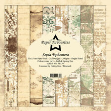New Dixi Craft  Paper Favourites 15 x 15cm Sepia Ephemera