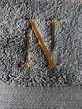 Monogram INIZIALE N Viso/Flanella Cotone Egiziano grigio scuro e oro