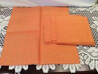 "Lot of 4 Linen Fabric Cloth Napkins Linens Orange Color 12"" square"