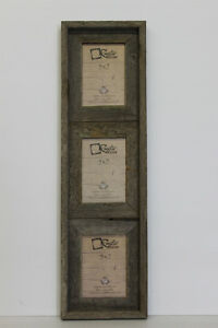 """5x7-2.5"""" Wide Reclaimed Rustic Barn Wood Vertical Collage Frame Holds 3 Photos"""
