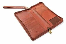Visconti 1157 Large Leather Travel Zipper Wallet Credit Card Tickets ID Brown