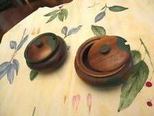 """vintage 2 wooden bowl with lids about 6""""wide 3"""" lidded Green paint embellishment"""