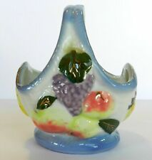 Vtg Antique Small Ceramic Candy Dish Bowl Basket Decorated Fruit Hand Painted