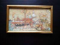 Beau tableau Venise Italie Bernard RICHARD signé huile sur panneau parfait état