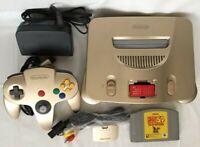 Nintendo 64 Console Gold + Expansion Pak + Donkey Kong N64 Set Tested working
