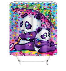 Panda Shower Curtain Bathroom Rug Set Thick Bath Mat Non-Slip Toilet Lid Cover