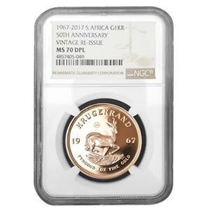 Südafrika - 1 Rand 2017 - 1967 Vintage Krügerrand - NGC MS DPL-70 - 1 Oz Gold PP